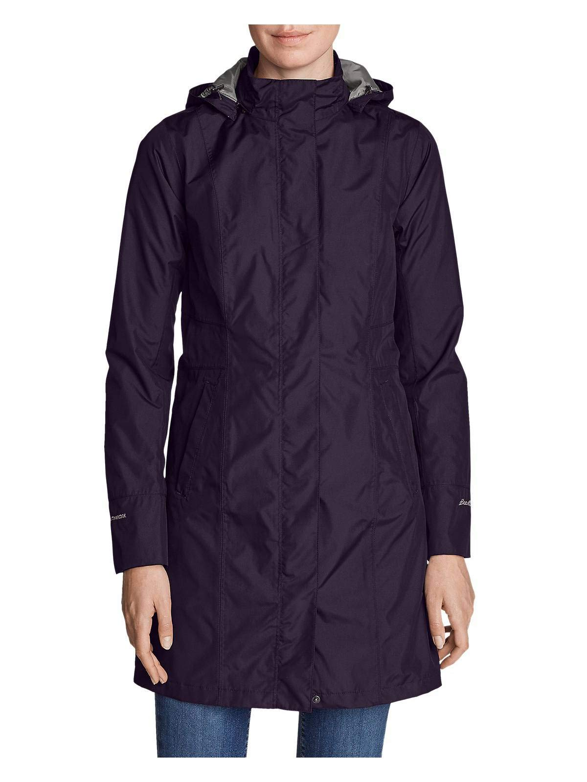 Eddie Bauer Women's Girl On The Go Insulated Trench Coat, Deep Eggplant Petite X