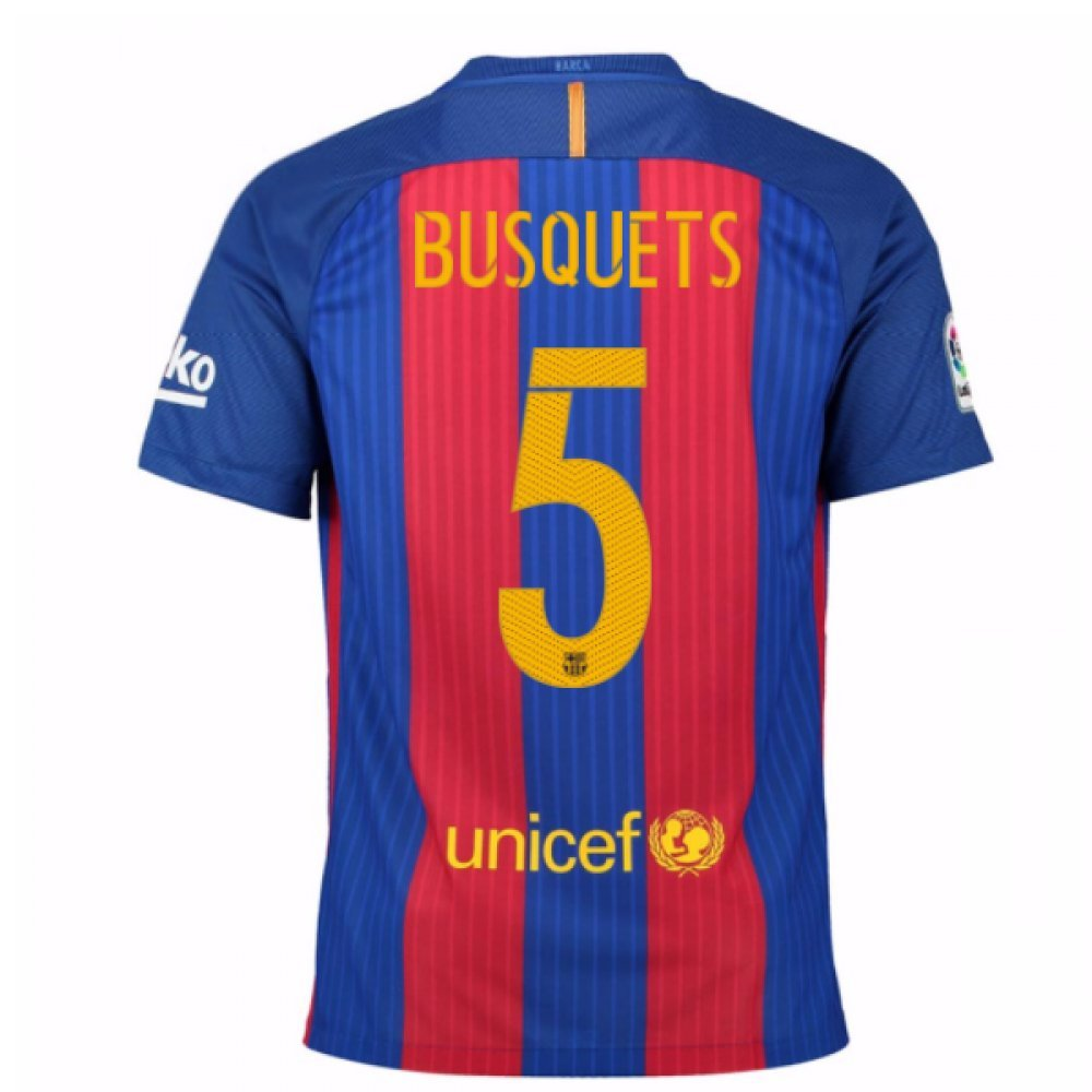 2016-17 Barcelona Home Football Soccer T-Shirt Trikot (Sergio Busquets 5) - Kids