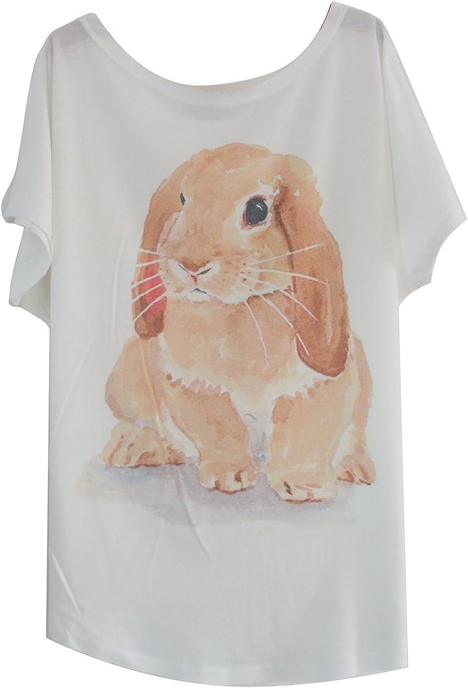 TALLA Talla única. Luna et Margarita Blanco Camiseta de algodón Manga del Batwing con Print Un tamaño para el tamaño 34 36 38 40 42