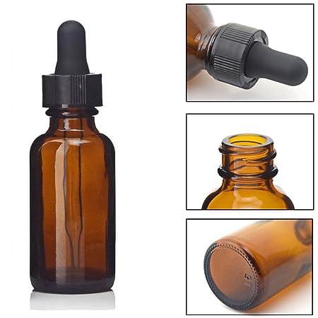 Botellas de vidrio para aceites esenciales, Frcolor 9 piezas 30 ml Botella de ámbar vacía recargable con cuentagotas y tapa Accesorios para herramientas de ...