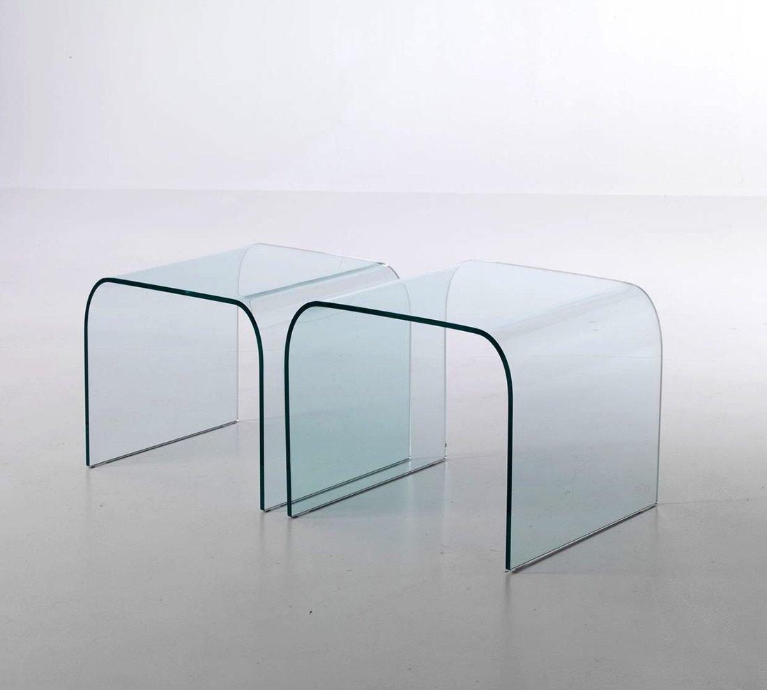 Tavolino Ponte Fiam Prezzo.Qriosa Stile Italiano Mod Rialto Coppia Tavolini In Vetro Curvo