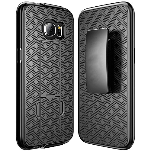 Black Rubberized Plastic Case (Galaxy S7 Edge Holster Case, REDshield [Black] Supreme Protection Slim Matte Rubberized Hard Plastic Case with Holster & Belt Clip for Samsung Galaxy S7)