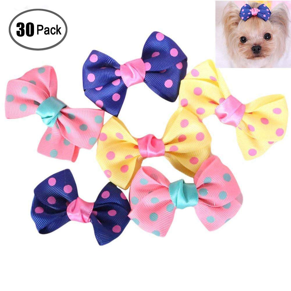Cheerpet 30 pcs Pet Hair Bows Dog Hair Accessories Different Pattern almost all dogs,cats,horse,sheep farm animals
