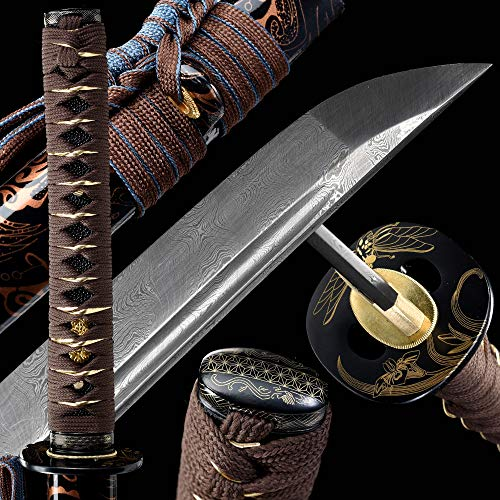 Handmade Japanese Samurai Katana Sword, Functional, Hand Forged, Damascus Steel, Heat Tempered/Clay Tempered, Full Tang, Sharp,Battle Ready,Wooden Scabbard,Sharp Knife