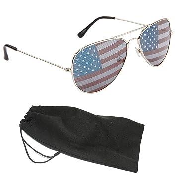 American Flag Aviator Sunglasses with Silver Frames tgptxk