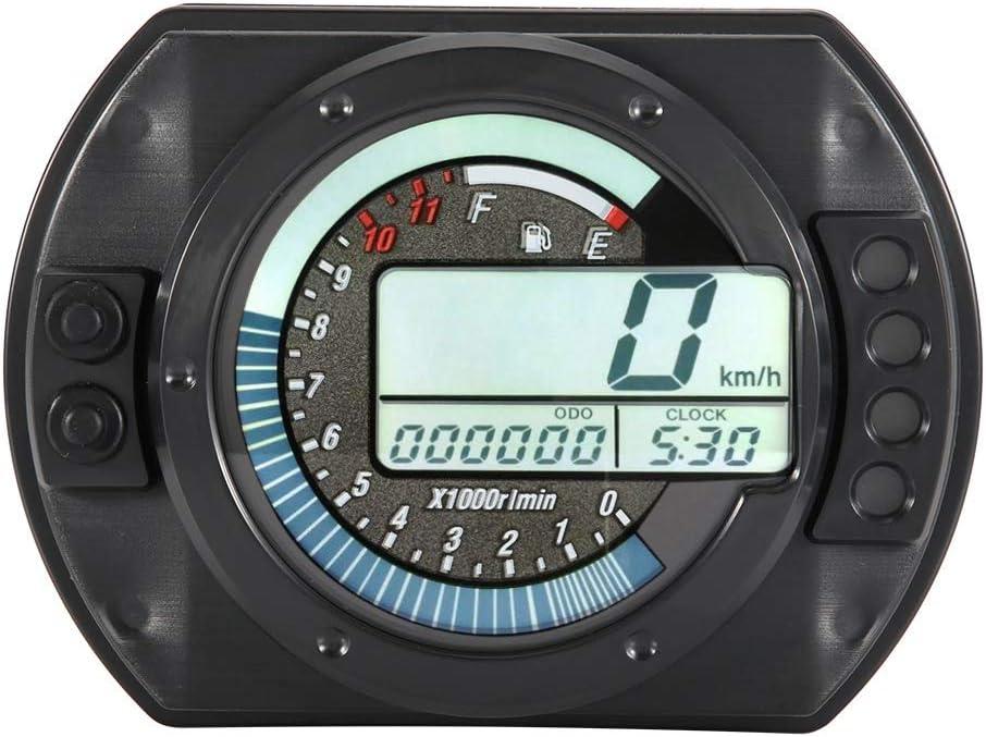 Aramox Indicateur de vitesse moto num/érique compteur de vitesse LCD compteur kilom/étrique compteur de niveau dhuile 7 affichage couleur