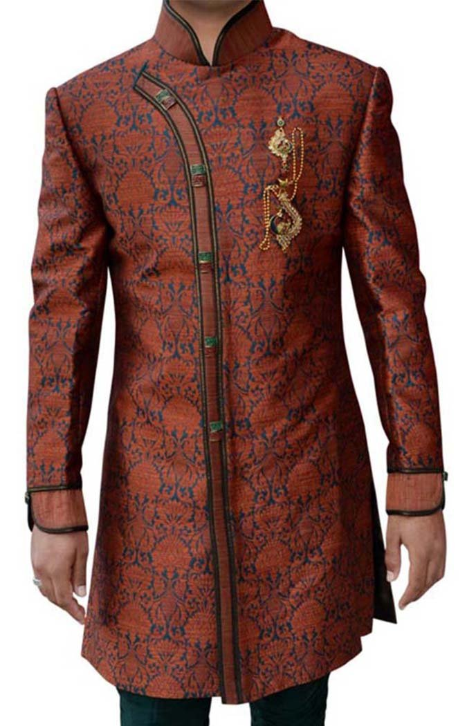 INMONARCH Mens Salmon 3 Pc Superb Indowestern Designer IN258S54 54 Short Red