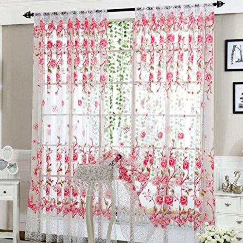 Window Curtain, Peony Sheer Curtain Tulle Window Treatment Voile Drape Valance 1 Panel Fabric,Tuscom (Pink) (Panel Peony)
