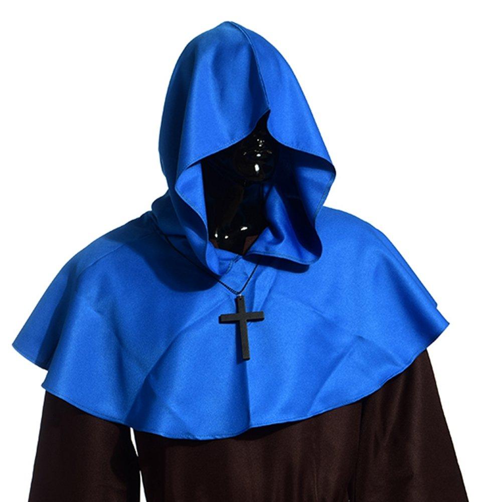 Men's Medieval Pagan Blue Shoulder Cowl Hood - DeluxeAdultCostumes.com