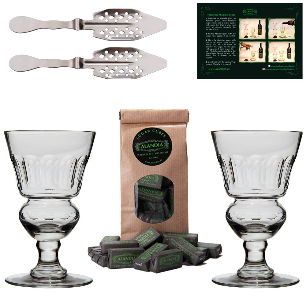 Premium Absinthe Spoons Glasses Set | 2x Absinthe Glasses | 2x Absinthe Spoons | 1x Absinthe Sugar Cubes | 1x Drinking instructions card for the Absinthe ritual
