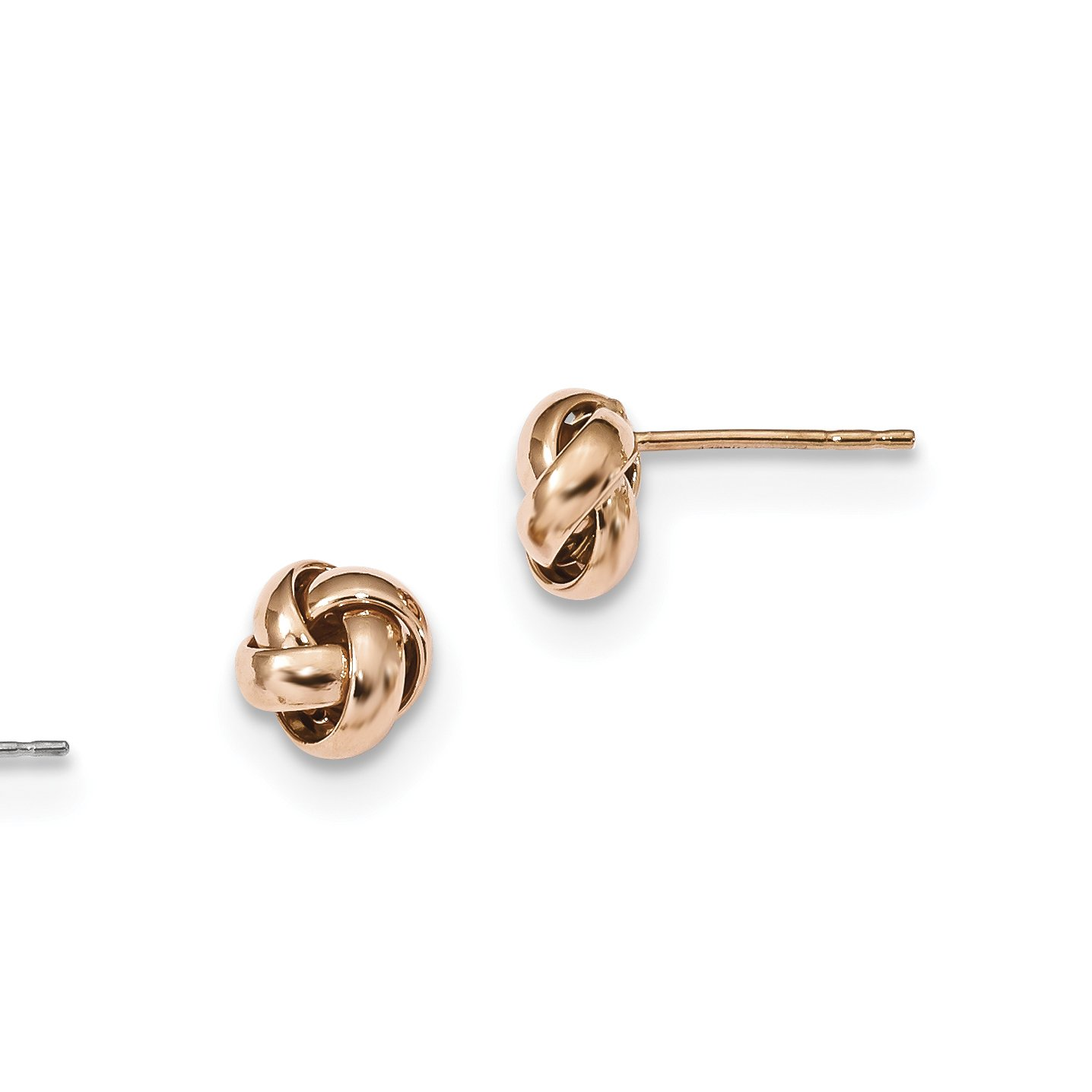 ICE CARATS 14k Rose Gold Love Knot Post Stud Ball Button Earrings Fine Jewelry Gift Set For Women Heart