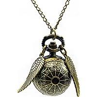 HWCOO Relojes De Bolsillo Trompeta retro Harry Potter con alas Reloj de bolsillo para estudiante