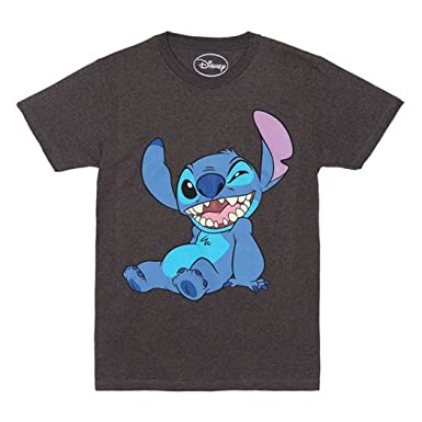 b44892a53ee Amazon.com  Lilo and Stitch Wink T-Shirt Heathered Charcoal  Clothing