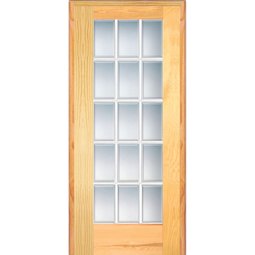 National Door Company Z019963R Unfinished Pine Wood 15 Lite True Divided, Beveled Clear Glass, Right Hand Prehung Interior Door, 30'' x 80''