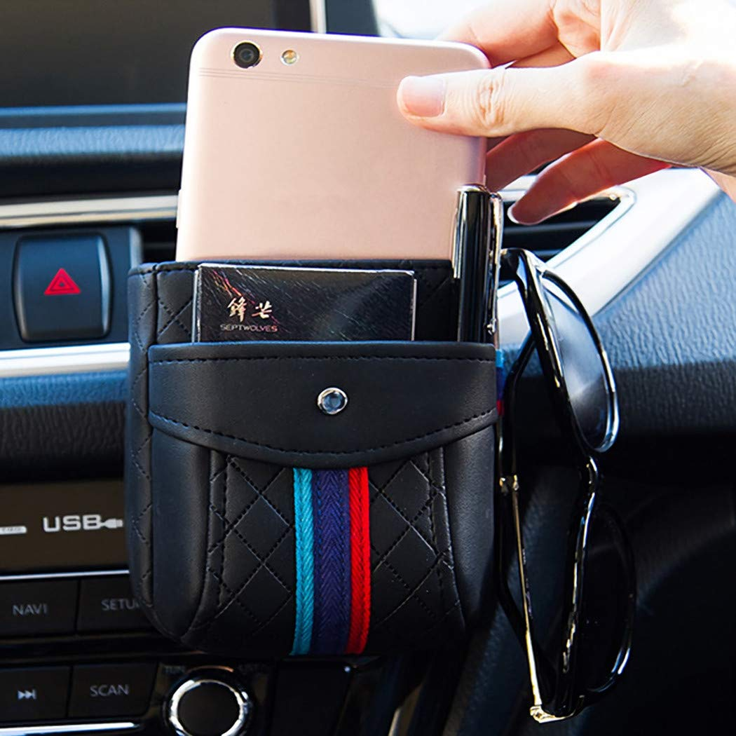 Yberlin Car Vent Organizer Pocket Luxury Leather Double Layer Phone Holder Bag Multi-Functional Storage Box