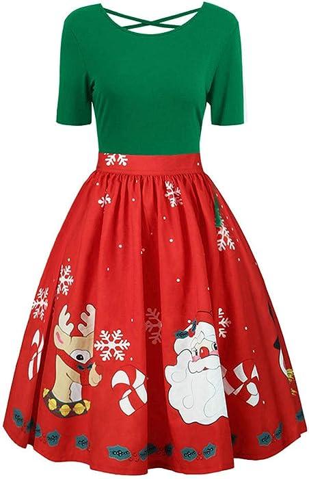 a1c852c321231 STORTO Plus Size Christmas Dress Womens Santa Claus Reindeer Print Criss  Cross Evening Party Dress