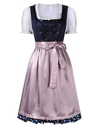 KOJOOIN Women Dirndl Dress Formal Dress - Oktoberfest Costume Midi Dress (3 Pieces:Dress