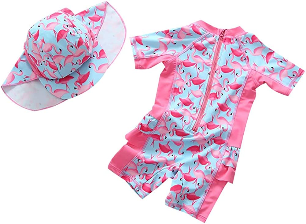 Sun Protection One Piece Zip Sunsuit Swimwear with Sun Hat Surfing Swimsuits Bathing Suit Kids Girls UPF50