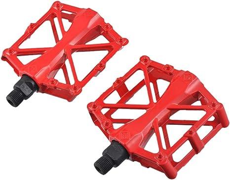 Aleación de aluminio bicicleta pedales bicicleta de carretera pedales para MTB BMX para bicicleta de montaña ciclismo bicicletas 1 par, rojo: Amazon.es: Deportes y aire libre