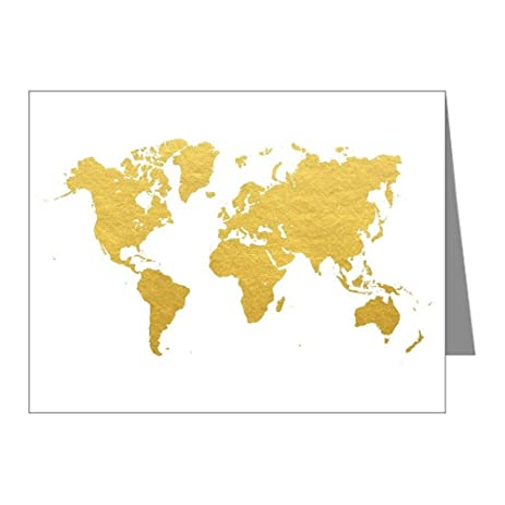 Amazon cafepress gold world map note cards blank note cafepress gold world map note cards blank note cards pack of 20 gumiabroncs Image collections