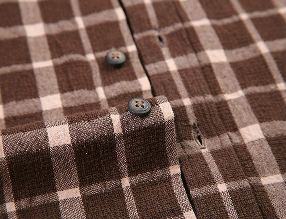 TuGui Mens Fashion Fit Casual Cotton Long Sleeve Plaid Button-down Shirts