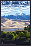 Great Sand Dunes National Park and Preserve, Colorado (12x18 Art Print, Wall Decor Travel Poster)