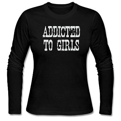 44b444a3b ZWEN Women's Addicted To Girls Long Sleeve T-Shirt at Amazon Women's  Clothing store: