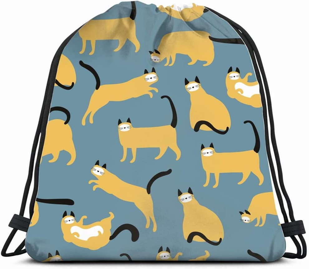 Gatos Amarillos Diferentes Poses Animales Fauna Mochila con cordón ...