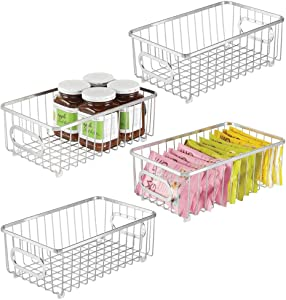 mDesign Metal Farmhouse Kitchen Pantry Food Storage Organizer Basket Bin - Wire Grid Design - for Cabinets, Cupboards, Shelves, Countertops, Closets, Bedroom, Bathroom - Small Wide, 4 Pack - Chrome