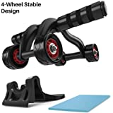 Ab Roller - Amarey 4 Wheels Ab Trainer Abdominal Wheel Gym Home Equipment Ab Roller Wheel with Knee Pad Mat & Brake Plate Fitness Training Equipment for Home Gym Workout