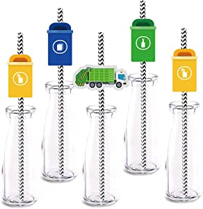 Garbage Truck Party Straw Decor, 24-Pack Garbage Trash Recycling Baby Shower Kids Birthday Party Decorations, Paper Decorative Straws