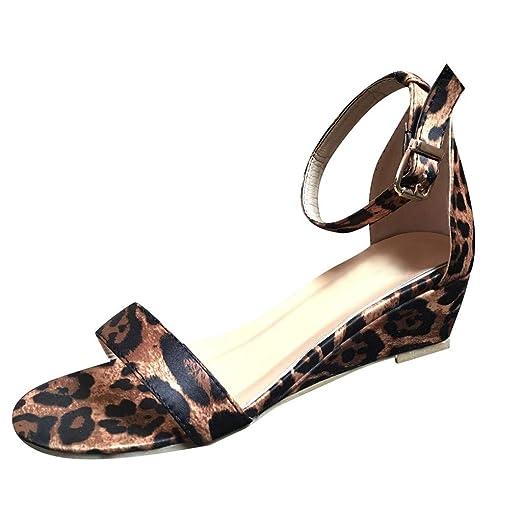 64022113ce78 Woman Leopard Snake Print Sandals Retro Mid Heel Ankle Strap Buckle Roman  Sandals Non Slip Outdoor