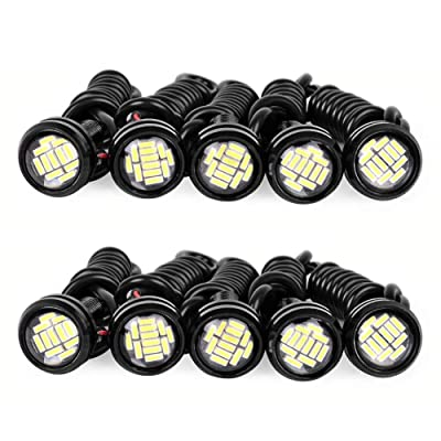 YINTATECH 10PCS Eagle Eye LED Lighting Kit High Power 9W 12SMD Daytime Running Light DRL Car Motorcycle Fog Light Backup Lights (23mm, White): Automotive