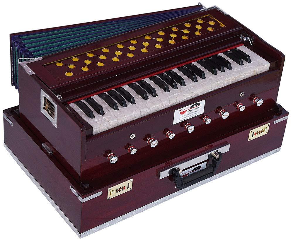 Harmonium Traveler/Portable/Folding Type By Kaayna Musicals, 9 Stops- 5 Main & 4 Drone, 3½ Octaves, Coupler, Dark Colour, Gig Bag, Bass-Male Reed - 440 Hz, Suitable for Yoga, Bhajan, Kirtan, Mantra by Kaayna Musicals (Image #1)