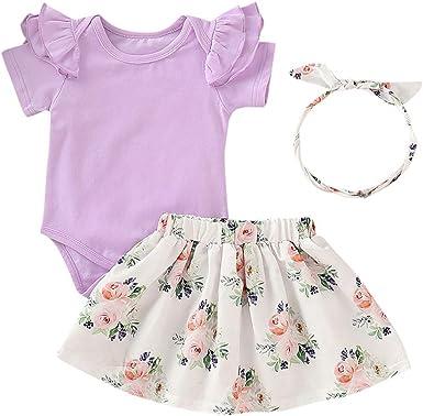 PinkLu Rosa Conjunto niña Traje Bebita Falda Manga Corta Color sólido Blusa con Volantes Falda Estampada Floral Venda Traje(3~24 Meses): Amazon.es: Ropa y accesorios