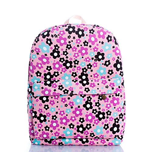 OUFLY lindo amarillo claro y crisantemo pastoral estilo lona mochila mochila de impresión de viajes Daypack impreso mochila hombro bolsa mochila escuela escuela bolsa para mujeres Damas Chicas Flores púrpuras y azules y negras