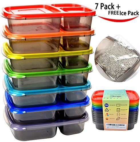 7 Pack Color Meal Prep 3 Compartment Bento Lunch Box