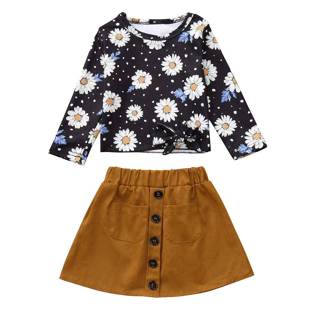 Euone GirlsFloral Tops + Skirt for 0-5 Years Old Kids Casual Long Sleeve Outfits HUYF-666