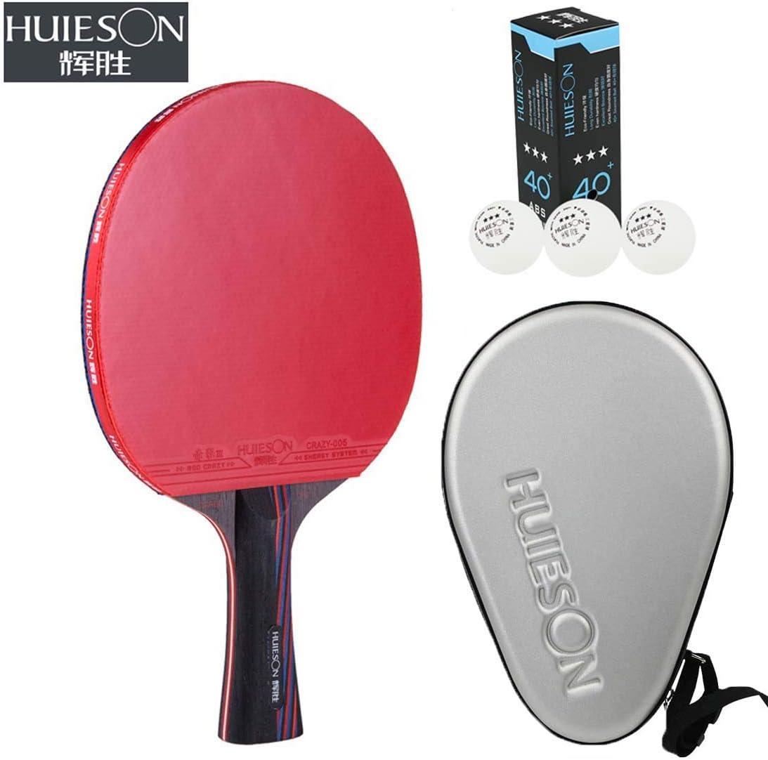 HUIESON de profesión Cola Antiadherente Balance de Ataque y Defensa Raqueta de Tenis de Mesa Rey de Carbono Entrenamiento o Competencia Tabla Bate de Tenis Ping Pong Paddle