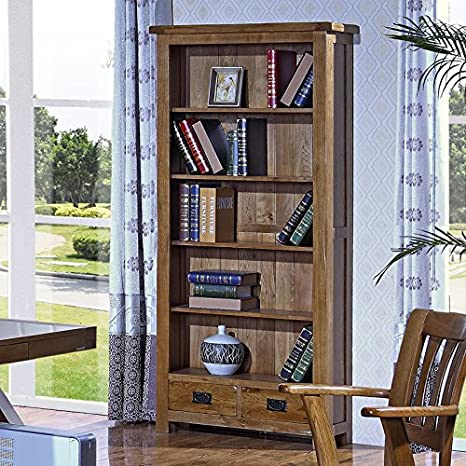 100% pura Madera Maciza Roble estante estante de cinco capas Dos cajones grandes repisas: Amazon.es: Hogar