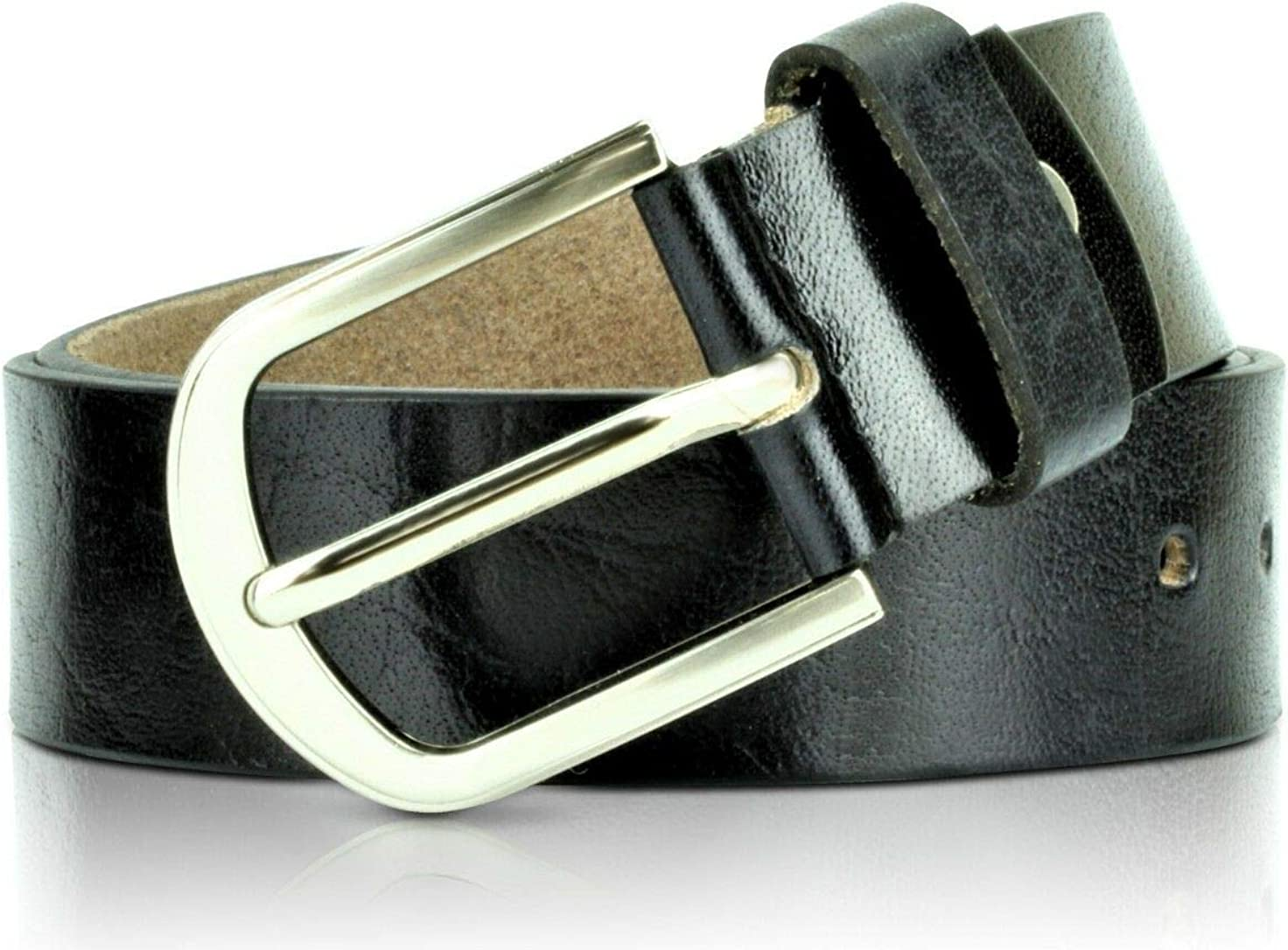 Berreri Mens Leather Belt With Pin Buckle 38mm For Jeans