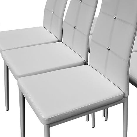 6 Esszimmerstühle Stuhl Hochlehner Polsterstuhl Sitzgruppe Essgruppe  Esszimmerstuhl Weiß: Amazon.de: Küche U0026 Haushalt