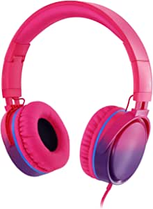 Rockpapa Grade Over Ear Headphones Foldable with Mic, Adjustable Headband Headsets for CellPhones Tablets Computers PC MP3/4 CD DVD in Car/Airplant Gradient Pink