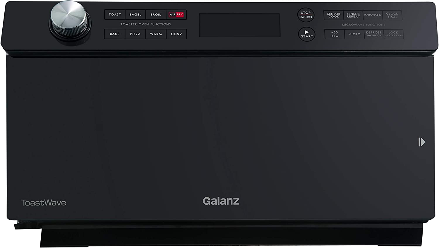 Galanz GTWHG12BKSA10 4-in-1 Multifunctional Air Fry 1000W/1.2 Cu.Ft Convection Oven, LCD Display, Cook, Sensor Reheat, Ergonomic Control Panel, Black