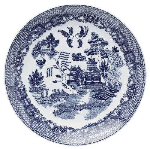 HIC Harold Import Co. YK-319 Blue Willow Buffet Plate, Fine White Porcelain, 12.25-Inches by HIC Harold Import Co.