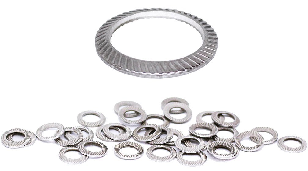 (100pcs) M5 Stainless SCHNORR Brand Ribbed Safety Spring Lock Washer Metric, BelMetric WSH5SS-X