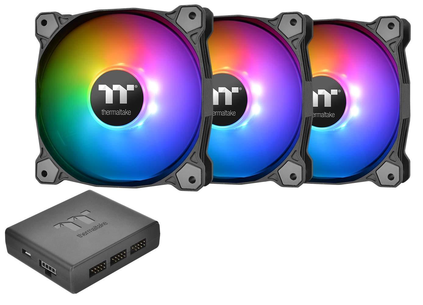 Thermaltake Pure Plus 14 RGB TT Premium Edition 140mm Software Enabled (Amazon Alexa, Razer Choma, TT AI Voice Control) Circular 9 Controllable LEDs RGB PWM Case Radiator Fan 3-Pack CL-F064-PL14SW-A