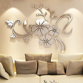 AuBergewohnlich Asvert Spiegel Aufkleber 3D Wandaufkleber Fenster Abziehbilder Wand  Dekoration TV Hintergrund Deko Wandtatoo   Spiegelfläche Blumen