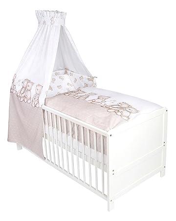 Baby Betten Set Babybettwäsche 3 Tlg Bärenland 1 Baumwolle Taupe
