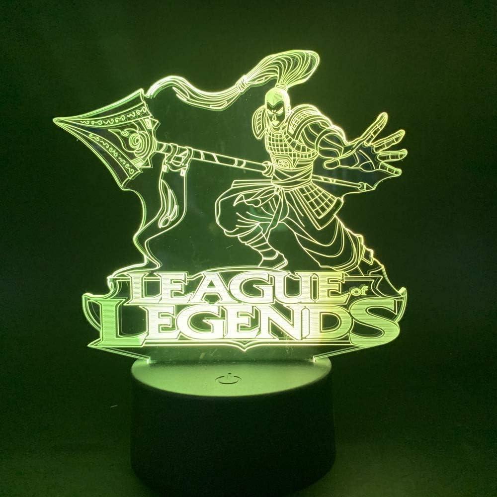 L/ámpara 3D LOL Luz nocturna decorativa para ni/ños L/ámpara de dormitorio Sensor t/áctil Luces nocturnas League of Legends Luz nocturna LED